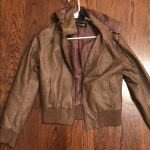 Brown faux leather jacket with hood.